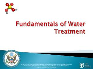 Fundamentals of Water Treatment