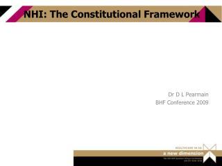 NHI: The Constitutional Framework