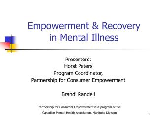 Empowerment & Recovery in Mental Illness