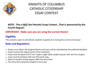 KNIGHTS OF COLUMBUS  CATHOLIC CITIZENSHIP ESSAY CONTEST