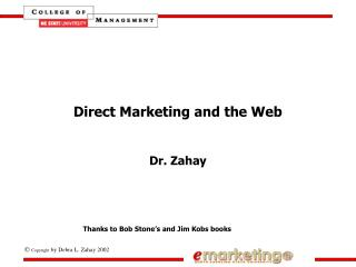 Direct Marketing and the Web