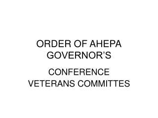 ORDER OF AHEPA GOVERNOR'S