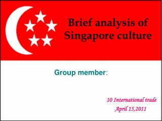 Brief analysis of Singapore culture