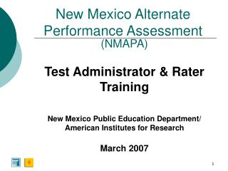 New Mexico Alternate Performance Assessment