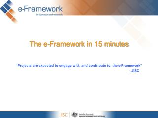 The e-Framework in 15 minutes
