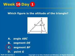 Which figure is the altitude of the triangle?