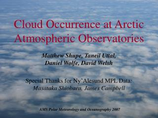 Cloud Occurrence at Arctic Atmospheric Observatories