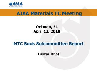 MTC Book Subcommittee Report Biliyar Bhat