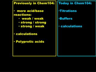 Previously in Chem104:   more acid/base reactions:    weak / weak  strong / strong  strong / weak