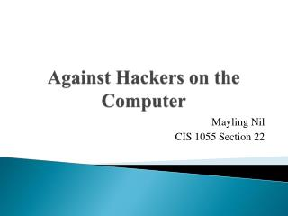 Against Hackers on the Computer