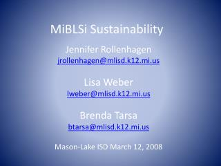 MiBLSi Sustainability