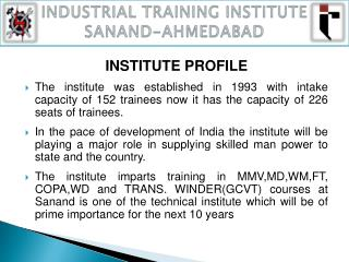 INDUSTRIAL TRAINING INSTITUTE SANAND-AHMEDABAD