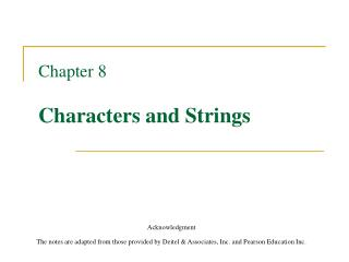 Chapter 8 Characters and Strings