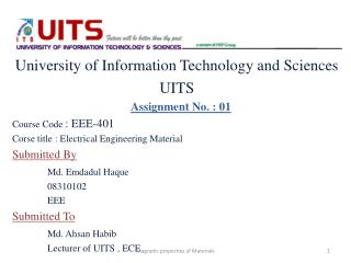 University of Information Technology and Sciences UITS Assignment No. : 01 Course Code  : EEE-401