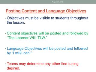 Posting Content and Language Objectives