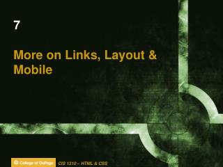 7 More on Links, Layout & Mobile