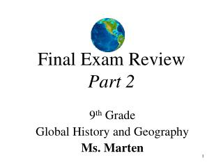 Final Exam Review Part 2