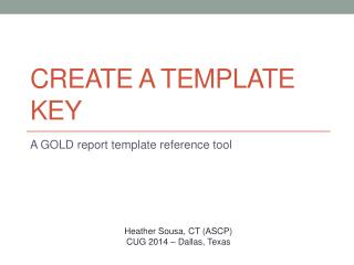 Create a  Template  Key