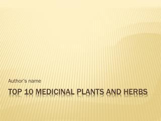 Top 10 Medicinal Plants and Herbs