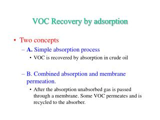 VOC Recovery by adsorption