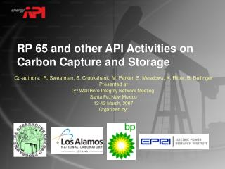 RP 65 and other API Activities on Carbon Capture and Storage