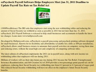 ezPaycheck Payroll Software Helps Employers Meet Jan 31