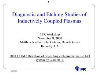 Diagnostic and Etching Studies of Inductively Coupled Plasmas