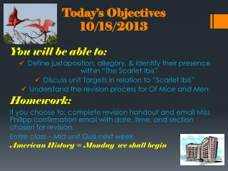 Today's Objectives 10/18/2013