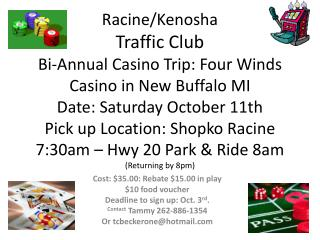Cost: $ 35.00 : Rebate $15.00 in play $10 food voucher Deadline to sign up:  Oct.  3 rd .