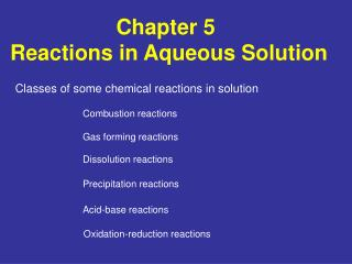 Chapter 5   Reactions in Aqueous Solution