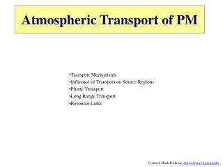 Atmospheric Transport of PM
