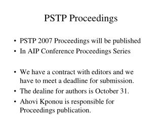 PSTP Proceedings
