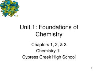 Unit 1: Foundations of Chemistry