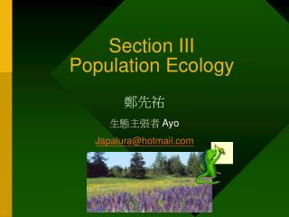 Section III  Population Ecology