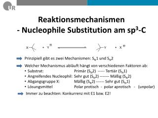 Reaktionsmechanismen  -  Nucleophile  Substitution am sp 3 -C