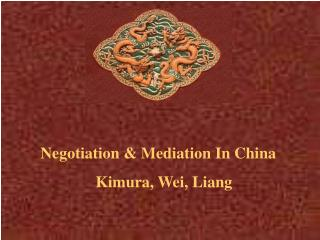 Negotiation & Mediation In China Kimura, Wei, Liang