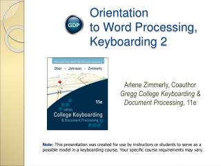 Orientation  to Word Processing, Keyboarding 2