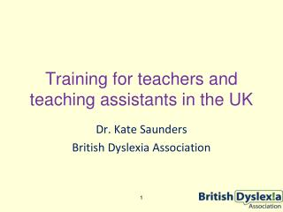 Training for teachers and teaching assistants in the UK