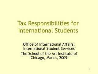 Tax Responsibilities for International Students