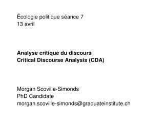 Écologie politique séance 7 13 avril Analyse critique du discours