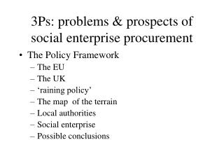3Ps: problems & prospects of social enterprise procurement