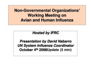 Non-Governmental Organizations' Working Meeting on  Avian and Human Influenza