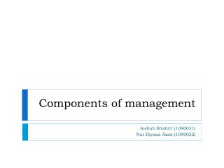 Components of management