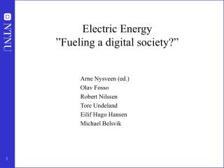 """Electric Energy """"Fueling a digital society?"""""""