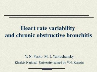 H eart rate variability  and  chronic obstructive bronchitis