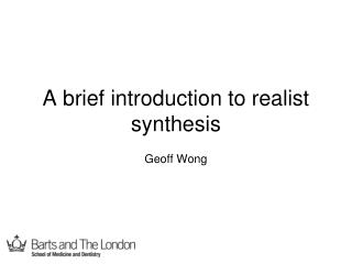 A brief introduction to realist synthesis