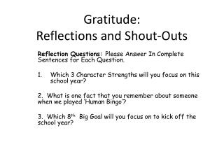 Gratitude: Reflections and Shout-Outs