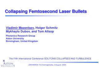 Collapsing Femtosecond Laser Bullets