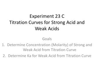 Experiment 23 C Titration Curves for Strong Acid and Weak Acids