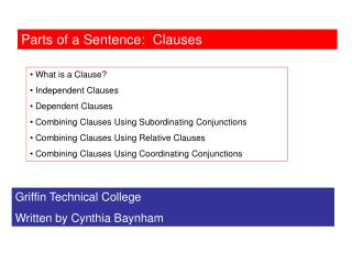 Parts of a Sentence:  Clauses